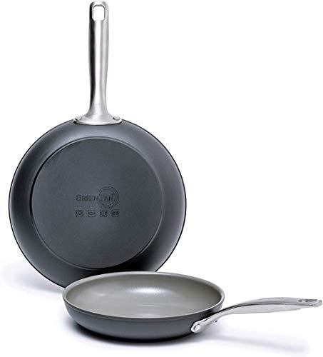 "GreenPan Chatham Healthy Ceramic Nonstick, Frying Pan Set, 8"" and 10"", Gray"
