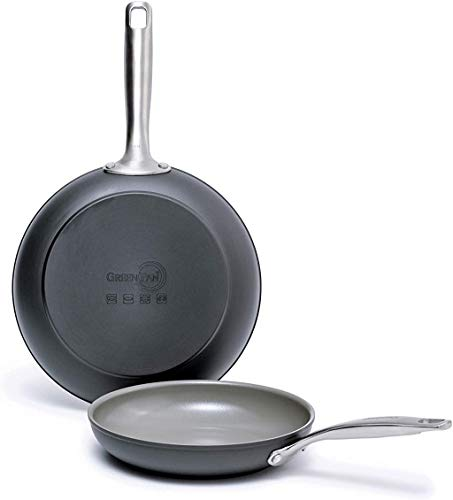 GreenPan Chatham Ceramic Non-Stick Open Frypan Set, 8' and 10', Grey -