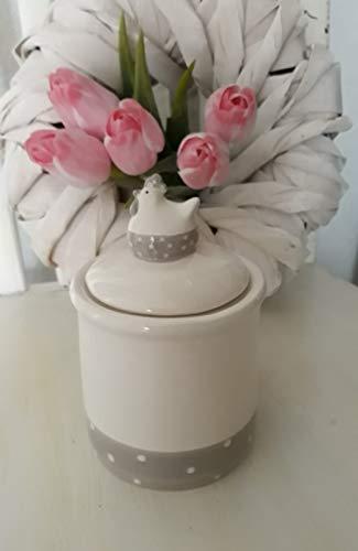 Keramikdose mit Deckel und Huhn Vorratsdose Küche Deko Landhaus creme grau Zuckerdose