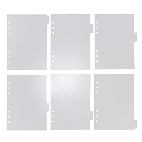 6 Holes Transparent PVC Binder Divider Pages with Tabs Clear Paper Sheet Index Dividers A5 Index Dividers for Notebook Journal Diary Planner Memo Notepad 6 Pieces Per Set