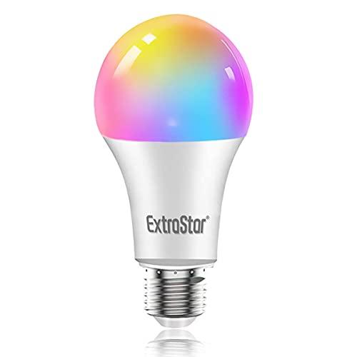 EXTRASTAR 1 Pack Bombilla Alexa LED Intelligente E27, 15W, 1400LM, Regulable Multicolor + Luz Cálida o Blanca, 16 Millones de Colores, Funciona con Alexa y Google Home