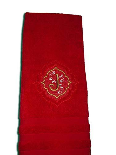 Handtuch bestickt mit Monogramm mit Blätterranken Name Frotteetuch Geschenk - Hochwertige Qualität