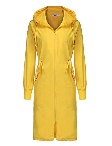 ELESOL Womens Lightweight Rain Jacket Camping Windbreaker Packable Long Raincoat Yellow