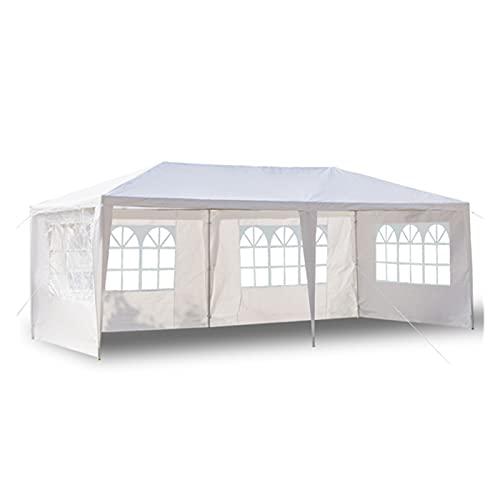 KUAIE Party Tent Camping Twnings Gazebos, Adecuado para el Patio de jardín al Aire Libre para Acampar, Cuatro Lados Tienda Impermeable con Tubos en Espiral, 3 x 6 m Economy White (Color : White)