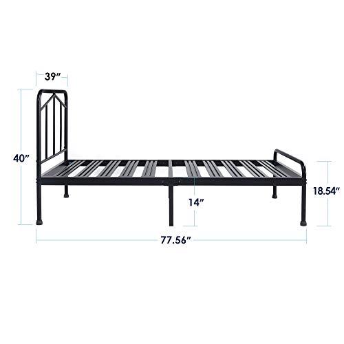 Best Price Mattress Twin Bed Frame - Glen 14 Inch Heavy Duty Metal Platform Bed w/Rounded Headboard Mattress Foundation (No Box Spring Needed), Black