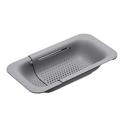 dorit Extensible sink funnel and strainer basket retractable plastic fruit and vegetable strainer drain basket Sink drain basket for Kitchen-Gray