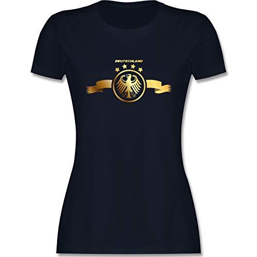 Fussball EM 2021 Fanartikel - Deutschland Adler Gold - L - Navy Blau - fußball wm 2018 t-Shirts Damen - L191 - Tailliertes Tshirt für Damen und Frauen T-Shirt