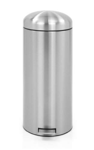 Brabantia 479366 Poubelle à Pédale Retro Bin Motion Control Seau Intérieur Plastique Fingerprint Proof 30 L Matt Steel
