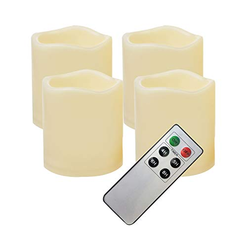 4 PCS Waterproof Outdoor Battery Operated Flameless LED Pillar Candles with Remote Flickering Plastic Electric Decorative Light for Lantern Party Wedding Decoration Garden Patio Home Decor 3x3 Inches