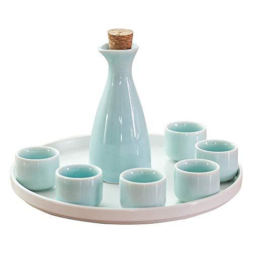 SAFGH Juego de tazas de Sake Diseño Tradicional Pintado a Mano Cerámica de porcelana Tazas de cerámica Copas de Vino artesanales, Tazas de cerámica con textura de esmalte Blanco, Cian, 5PCS (Color
