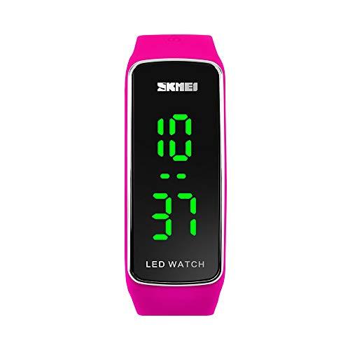 FeiWen Sportuhr Herrenuhr Damenuhr 50M Wasserdicht LED Licht Elektronik Digital Uhren Unisex Outdoor Fashion Uhr Plastik und Kautschuk Armbanduhr (Rosa)