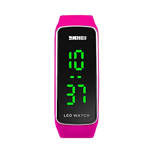 FeiWen Unisex Fashion Outdoor Deportivo Relojes de Pulsera 50M Impermeable Diseño Simple LED Luz LED Electrónica Digitales Reloj Plastico Bisel con Caucho Correa (Rosa)