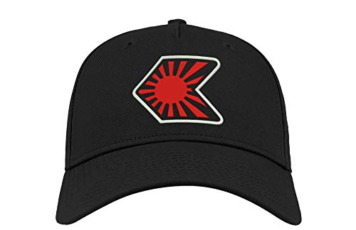 JDM Japan Raisung Sun Logo Drift Bestickt Gebogene Visier Unisex Atmungsaktiv Cap Mütze Baseball Kappe Fullcap Trucker Komfortabel Sports Top Schwarz