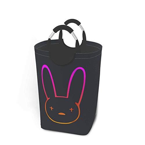 XCNGG Bad Bunny Bolsa de Ropa Sucia 50 litros Capacidad de Almacenamiento Estilo Retro japonés con asa Cesta de lavandería de Gran tamaño Plegable Cesta de Ropa Sucia