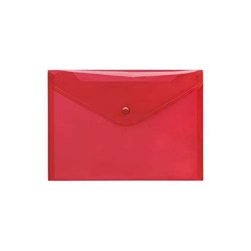 Transparent PP Umschlag A5Druckknopf Klassische klare (10Stück) rot