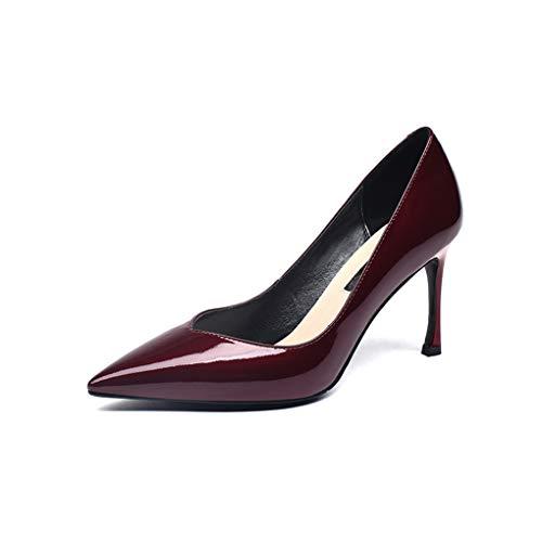 LBFXQ De Señora En La Patente De Los Zapatos De Tacón Alto 8.5Cm Punta Estrecha Clásico De La Manera Elegante Simple Atractivo Y Fácil De Combinar Exquisita Caja De Zapatos,Rojo,38
