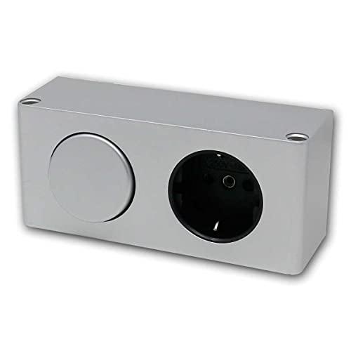 world-trading-net - Enchufe empotrado para muebles con tapa e interruptor de luz en plata, clase de protección IP44, adecuado para baños o garajes