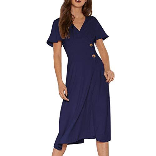 SANNYSIS Damen Kleider Vintage Elegant Sommerkleid V-Ausschnitt A-Linie Wickelkleid Swing Strandkleid Tunika Kurzarm Cocktailkleid Knielang Freizeitkleid (XXL, Marine)
