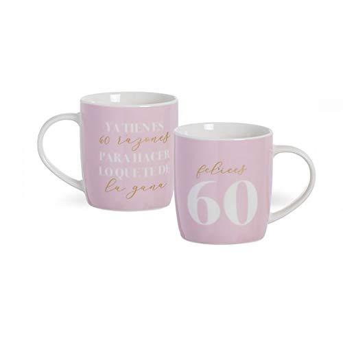 Hogar y Mas Taza de Porcelana de cumpleaños de 60 años con Frase. Diseño Original y Moderno. Regalo Original 8.3 x 8.3 x 10cm 350ml. (Blanco) (Rosa)