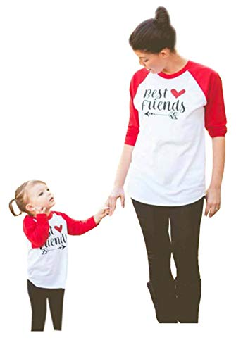 Family Matching Clothes Letter Print Round Neck Long Sleeve T-Shirt Mommy and Me Matching Tee Blouse(Red,Kid/M(5-6T))