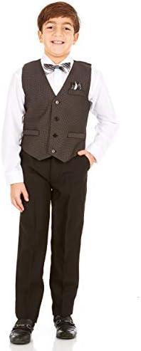 Vittorino Boys 4 Piece Suit Set with Vest Dress Shirt Bow Tie Pants and Pocket Square Big Little product image