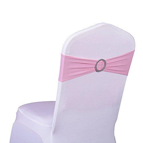 SINSSOWL 100 pcs élastique Spandex Housses de Chaise Bandes nœuds pour décorations de fête de Mariage de fournisseurs Chaise nœuds -- Rose clair