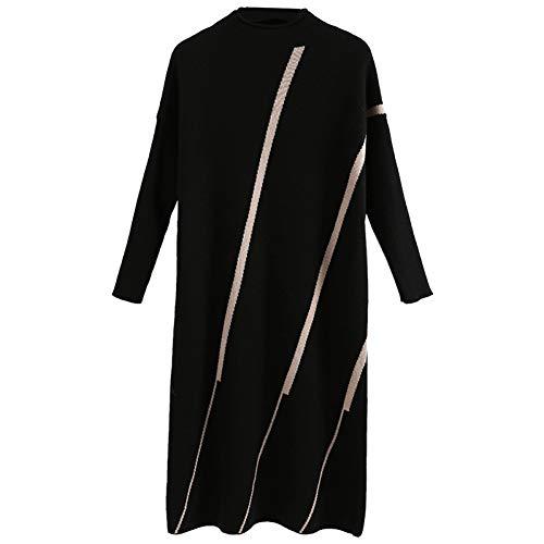 BINGQZ Gebreide jurk vrouwen winter nieuwe dames temperament trui over de knie lange rok herfst en winter verdikking rok