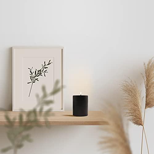 Bonamaison, Pillar Candle, Paraffin Wax, Black, 6,5x8 cm