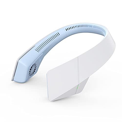 JUEJIDP Ventilador de Cuello portátil, Ventilador de Cuello Colgante de enfriamiento, Ventilador Personal Mini USB Recargable, Diseño de Auriculares para Deportes al Aire Libre Oficina Interior,Azul