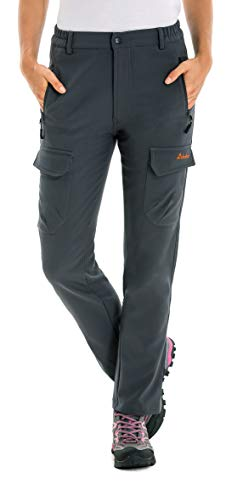 Clothin Women's Fleece-Lined Soft Shell Cargo Pants, Insulated, Water and Wind-Resistant,Grey,12 (35.5-37.5W30L/Regular)