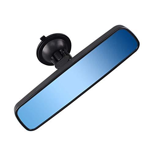 Espejo retrovisor interior coche central, Camión de universal Espejo Retrovisor coche antideslumbrante ventosa Blue Mirror (Ancho 24.5cm / 9.6in)