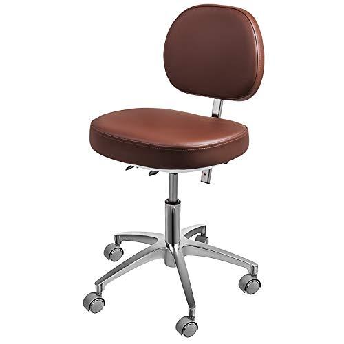 BuoQu Drehshocker Brown Standard Dental Mobiler Stuhl Sattel Doktorhocker PU Leder Zahnarztstuhl Dental Hocker Höhenverstellbar für Zahnärzte und Büros