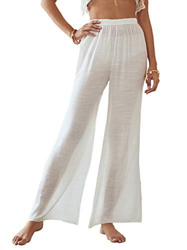 Floerns Women's Sheer Mesh Cover Up Pants Elastic Waist Wide Leg Trousers White M