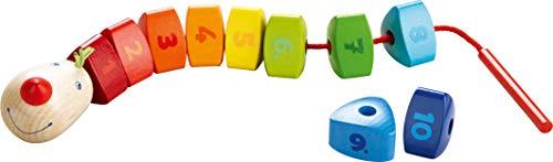 HABA 302161 - Fädelspiel Zahlen-Drache | Niedliches Holzspielzeug und Geschicklichkeitsspiel ab 2 Jahren | Fördert erstes Zählen und das Lernen von Farben