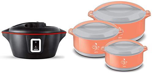 Milton Smart Hotpot Electric App Enabled Casserole, 1.45 Litre, Black & MILTON Divine Jr Inner Steel Casserole Gift Set of 3, Orange