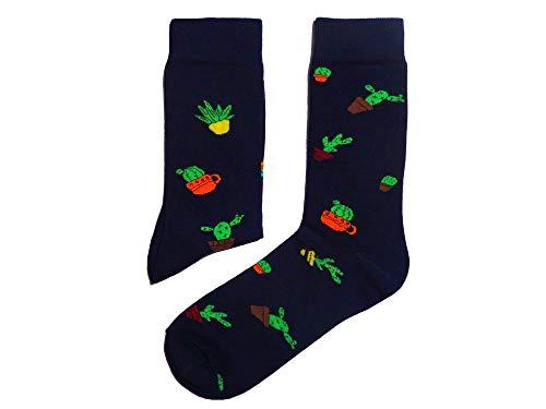 Weri Spezials feine erstklassige Herren Socke in Kaktus Design. Business Casual Funny Socken in tollen Farben. (43/46, Marine)