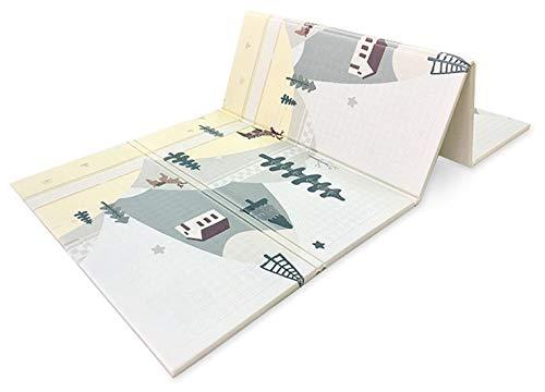 Spielmatte für Kinder Baby Teppich Faltbare Bodenmatte in Pastell Farben Weich Rutschfest und Leicht Waschbar Ungiftiges Material Doppelseitige Matte für Jungen und Mädchen (Bär und Autos)