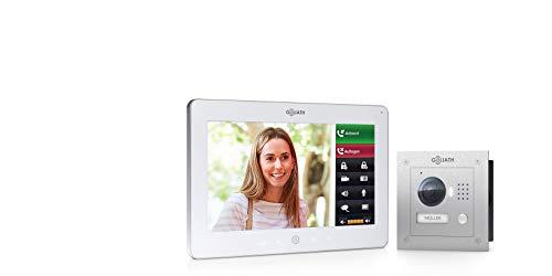 Goliath IP Video intercomsysteem, inbouw, HD-deurstation, roestvrij staal, app met deuropener-functie, 10 inch touchscreen, wifi, 1 familiehuis