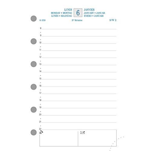 Exacompta 14350E- Recarga del organizador para Exatime 14- Diario 1 día por página de enero a diciembre, año 2019