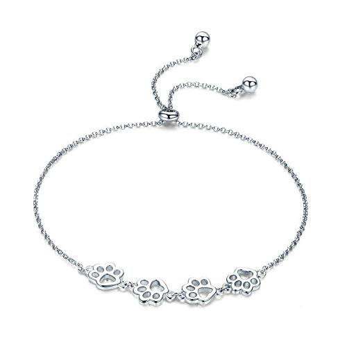 Women's Bracelet 925 Sterling Silver Dog Cat Paw Print Bracelet for Women Girls Nickel Free with Small Gift Box Silver