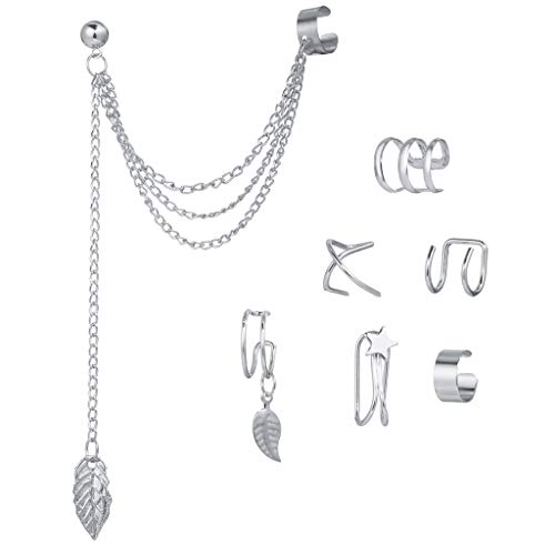 Yushu - Juego de 7 clips de oreja sin perforación, puño de oreja, labio falso, kit de clip de cartílago de hélice, pendientes de borla sin perforación, juego de joyas para mujeres