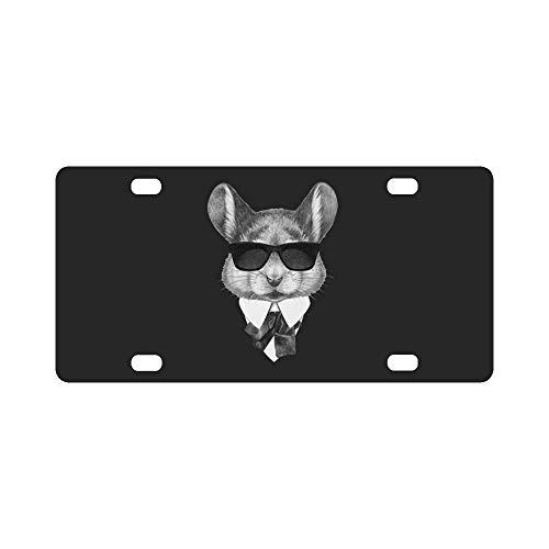 Mode-Maus im Anzug mit Sonnenbrille Hipster Animal Automotive Metallkennzeichen Dekor Dekoration, Auto-Tag für Frau Mann