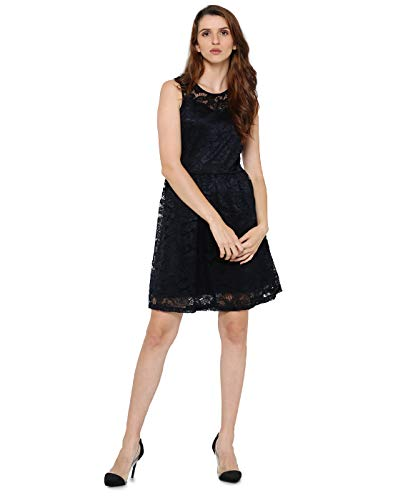 ONLY Damen Onldicte Lace Sl Dress WVN Kleid, Blau (Night Sky), 34 (Herstellergröße: XS)