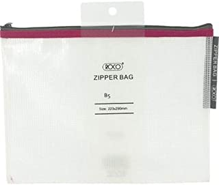 Roco RQ-FB8067PNK B5 Topload Opening Document Pouch, Clear-Pink Accent