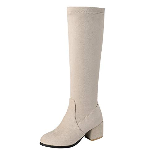 HUHU833 Damen Stiefel High Heels Absatz mit Reißverschluss Stiefeletten Elegant Knie Hoch Stiefel mit Blockabsatz Schleifen Fashion Plateau Hohe Stiefel Absatz (Beige, 39.5 EU)