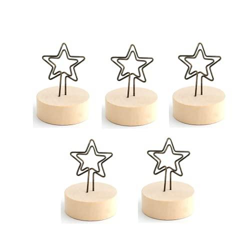 Easenhub 5Pcs Precioso Tarjetero Kpop con Estrella de Cinco Puntas, Clip de Metal con Fondo de Madera para Exhibición de Imágenes, Tarjetas de Navidad, Tarjeta de Visita, Papel