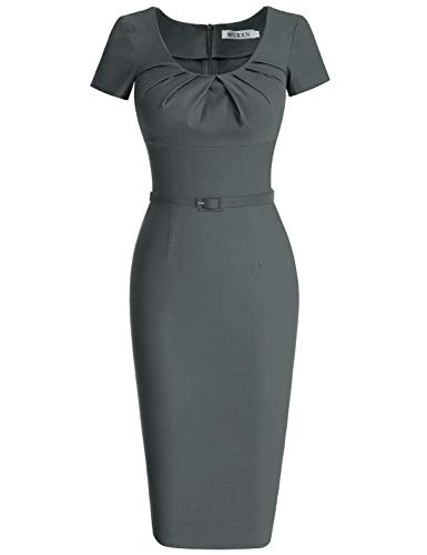 MUXXN Women's Pleated Neck Empire Waist Illusion Pencil Dress (S Gray)