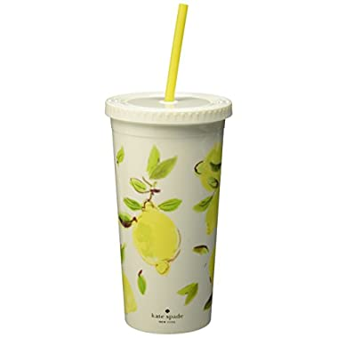 Kate Spade New York Insulated Tumbler, Lemon, Bright Yellow