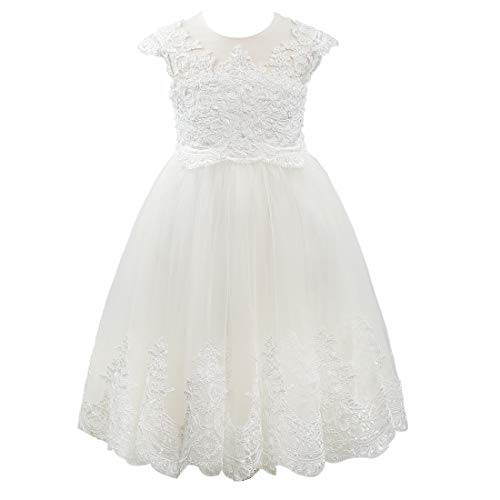 Miama Cap Sleeves Beaded Lace Tulle Wedding Flower Girl Dress Junior Bridesmaid Dress Champagne