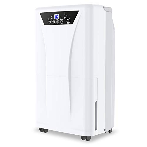 Kesnos 2500 Sq. Ft Dehumidifier for Home and Basements with Drain Hose, Water Tank, Timer, Auto Defrost,
